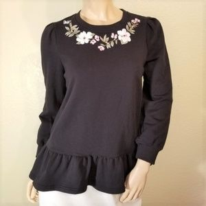 Kate Spade Medium Black Peplum Floral Knit Top